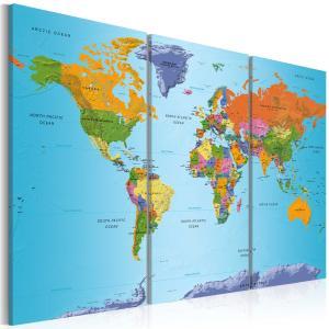 Ljuddämpande tavla - World Map: Colourful Note - SilentSwede