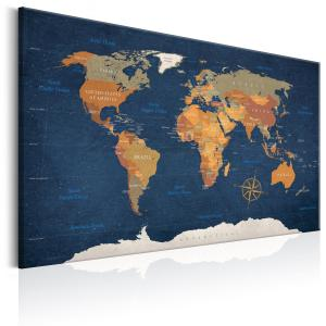 Ljuddämpande & ljudabsorberande tavla - World Map: Ink Oceans - SilentSwede