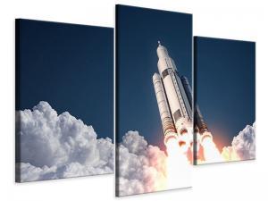 Ljudabsorberande modern 3 delad tavla - Rocket Start - SilentSwede