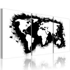 Ljuddämpande tavla - Världskartan i svart-vitt - SilentSwede