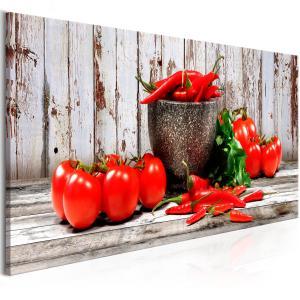Ljuddämpande & ljudabsorberande tavla - Red Vegetables Wood - SilentSwede