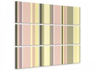 Ljudabsorberande 9 delad tavla - Vertical Stripes - SilentSwede