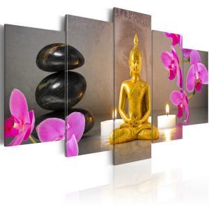 Ljuddämpande tavla - Golden Buddha and orchids - SilentSwede