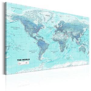 Ljuddämpande & ljudabsorberande tavla - World Map: Sky Blue World - SilentSwede