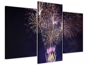 Ljudabsorberande 3 delad tavla-Fireworks - SilentSwede