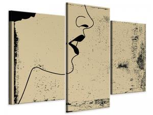 Ljudabsorberande 3 delad tavla-Woman Portrait In Grunge Style - SilentSwede