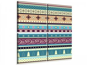 Ljudabsorberande 4 delad tavla - Playful Stripes - SilentSwede