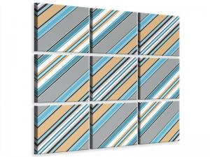 Ljudabsorberande 9 delad tavla - Color Strips - SilentSwede