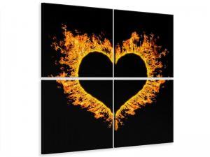 Ljudabsorberande 4 delad tavla - Heart Flame - SilentSwede