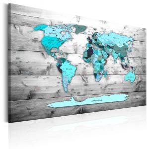 Ljuddämpande tavla - World Map: Blue World - SilentSwede