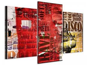Ljudabsorberande modern 3 delad tavla - Music Text In Grunge Style - SilentSwede
