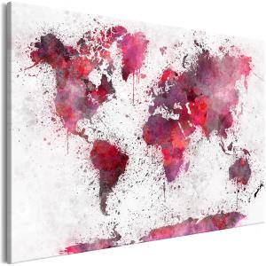 Ljuddämpande tavla - World Map: Red Watercolors - SilentSwede