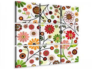 Ljudabsorberande 9 delad tavla - Retro Style Floral - SilentSwede