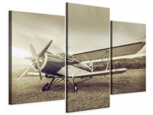 Ljudabsorberande modern 3 delad tavla - Nostalgic Aircraft In Retro Style - SilentSwede