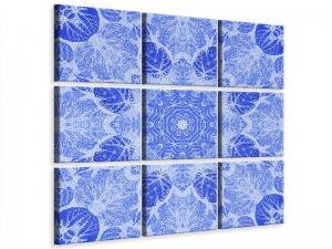 Ljudabsorberande 9 delad tavla - Blue Ornament - SilentSwede