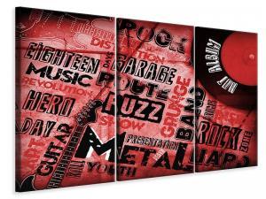 Ljudabsorberande 3 delad tavla - Writings Music Grunge - SilentSwede