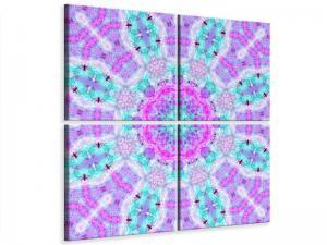 Ljudabsorberande 4 delad tavla - Lilac - SilentSwede