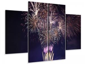 Ljudabsorberande 4 delad tavla-Fireworks - SilentSwede