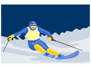 Ljudabsorberande tavla - Skier In Retro Style - SilentSwede