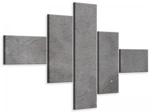 Ljudabsorberande modern 5 delad tavla - Concrete In Dark Grey - SilentSwede