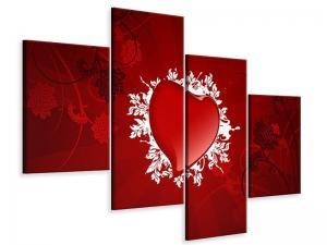 Ljudabsorberande modern 4 delad tavla - Flying Heart - SilentSwede
