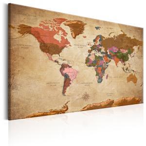 Ljuddämpande tavla - World Map: Brown Elegance - SilentSwede
