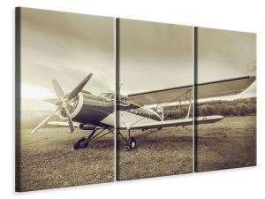 Ljudabsorberande 3 delad tavla - Nostalgic Aircraft In Retro Style - SilentSwede