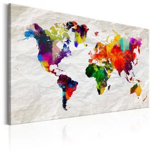 Ljuddämpande & ljudabsorberande tavla - World Map: Rainbow Madness - SilentSwede