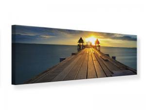 Ljudabsorberande panorama tavla - Sunset At The Wooden Bridge - SilentSwede