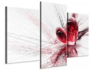 Ljudabsorberande modern 3 delad tavla - Heart Reflection - SilentSwede