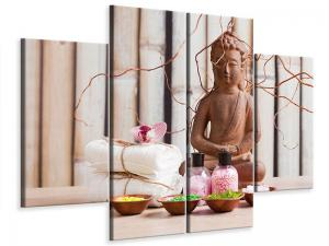 Ljudabsorberande 4 delad tavla-Buddha & Wellness - SilentSwede