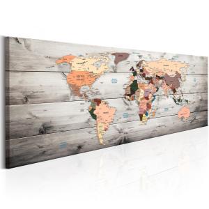 Ljuddämpande tavla - World Maps: Wooden Travels - SilentSwede
